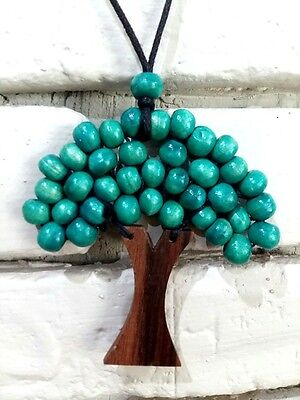 Hippie wooden tree of life jewelry pendant necklace painted choker handcraft men](Mens Hippie Jewelry)