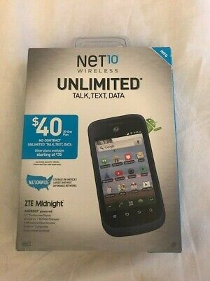 NET10 NTE MIDNIGHT Z768GP CELL PHONE NIB NO CONTRACT READY ACTIVATE VALUE PACK