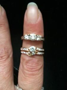 Diamond Wedding Set and Diamond Trinity Ring