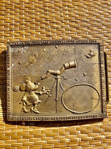 Vintage Minnie Mouse belt buckle with telescope at Mickey Mouse made of Brass