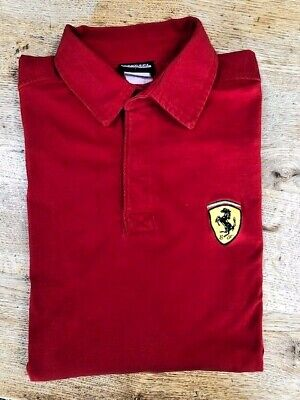 Mens Ferrari Classic Cotton Long sleeve Rugby Shirt! Size Large.