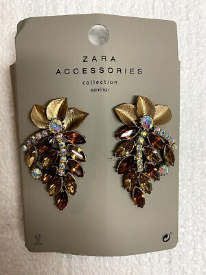 Zara Accessories Collection Earrings FLOWER AND LEAF EARRINGS GOLD NEW