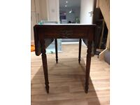 Antique Oak 2 drop leaf table with 4 old school chairs
