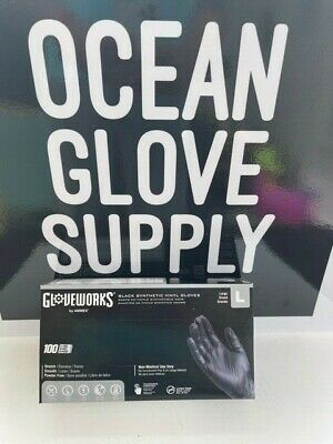 100box Gloveworks 3 Mil Vinyl Industrial Latex Free Disposable Gloves - Black L