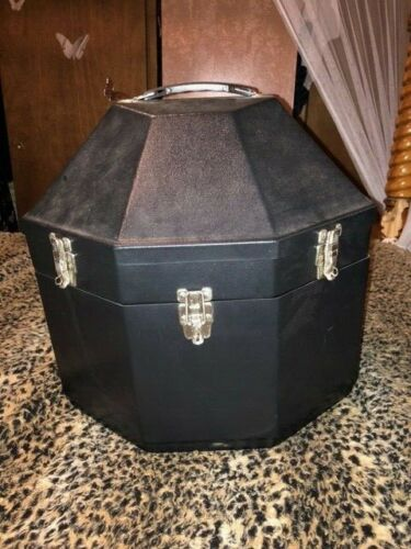 BLACK PLASTIC DOUBLE WESTERN COWBOY HAT CAN CARRIER