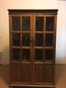 Antique Bookcase with Glass Doors and Key