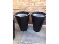 Outdoor plant pots - Tall black painted metal plant pots - £7.50 each. Collect from Fulham