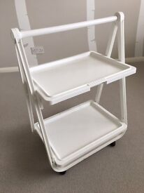 White Folding Trolley Table on Wheels