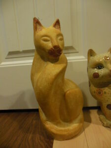 cat lovers, 2 different cat statues, and one big-cat vase London Ontario image 2