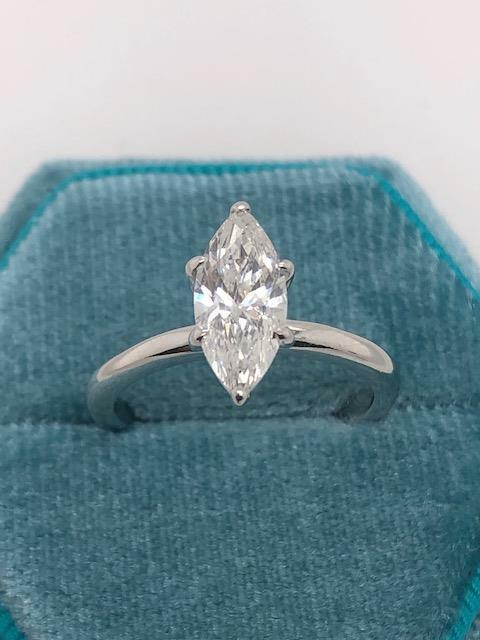 Real Genuine Diamond Engagement Ring 1.25 Ct Marquise 14k White Gold F/si1