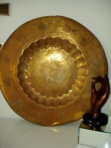 "early 1900s persian MOGHUL peacock tray 24""D LARGE Persian"