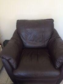 Sofa, Chair & Footstool - Brown Leather - £450 ono