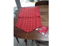 Red table runner with gold detailing COLLECT FROM FULHAM