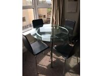 Glass Dining Room Table 4 Chairs