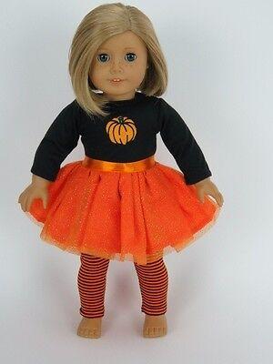 Halloween Doll Dresses (Orange Glitter Pumpkin Tutu Dress Halloween Fits American Girl 18