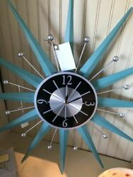 RETRO MID CENTURY AQUA ATOMIC STARBURST SUNBURST BATTERY WALL CLOCK NIB REPRO