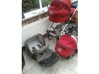 Mutsy - pram, carry cot, car seat and ride on board