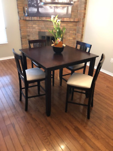 Pub Style Dining Room Set - 4 Chairs & Table