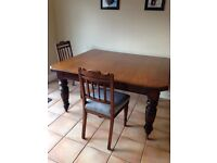 Antique mahogany table and chairs