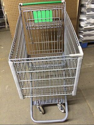 Shopping Carts Large Gray Metal Lot 12 Used Store Fixture Grocery Market Green