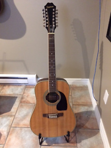 Epiphone 12 string guitar with hard wired soundhole pickup