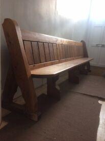 Stunning Pitch Pine Church pew / Chapel bench. 10ft long