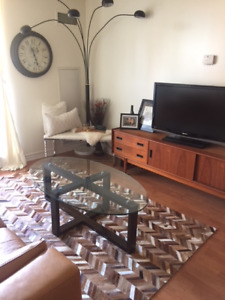 Modern Wood and Glass Coffee Table End Table