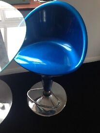 2 gas lift bar stools red and blue , decent condition