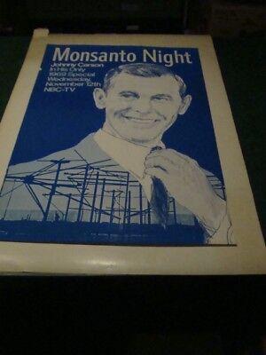 ORIGINAL Poster 1969 Monsanto NIght JOHNNY CARSON 24x36 1/2 -- NBC-TV