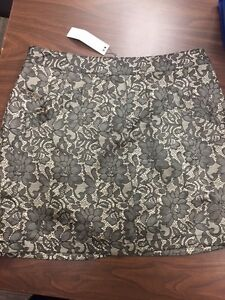 Cream and Black Lacelike floral  Skirt