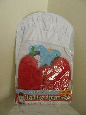 2864) Little Cook Holiday Apron Set 2 Oven Mitts Chef's Hat Apron New In Package