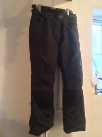 Ladies Motorbike Waterproof Trousers, textile with reinforced knee and lined