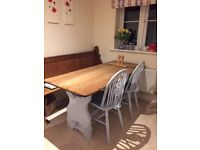 Solid Oak Cornish Refectory Table & Chairs