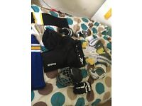 Rebok pretective hockey shorts / socks/ right hockey glove / elbow pads