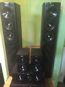 SET OF 5 SPEAKERS + AMPLIFIER FOR SALE OR TRADE