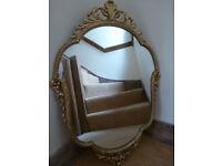 1950's 1960's VINTAGE PEERART ORNATE Mirror Gilded Metal Framed Rococo Baroque Style Bedroom Hall