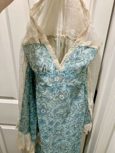 Gunne Sax Angel Sleeve Blue Floral Fairy Princess Dress 7 S Pristine