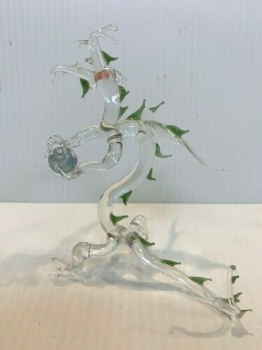 Green Clear Blown Glass Dragon Figurine