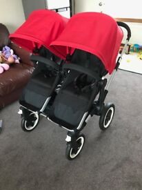 Bugaboo Donkey Duo - Twin Stroller. Red/Black - Excellent condition. From Smoke Free, Pet Free home.