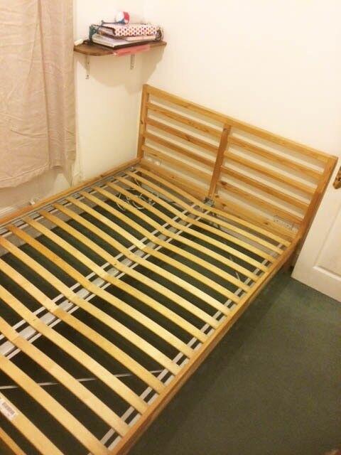 KING SIZE BED FRAME + BED BASE. IKEA Tarva bed frame + IKEA Lüroy ...