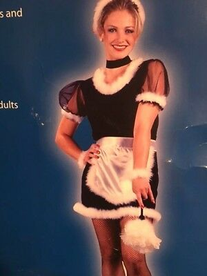 Ladies French Maid Duster Costume Dress Adult 6-8 NWT Halloween Dress up