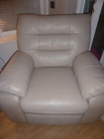 Beige Leather Electric Recliner Chair (Reduced Price!)