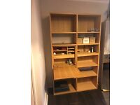 Solid Oak shelving sideboard from The Futon Company & matching mirror
