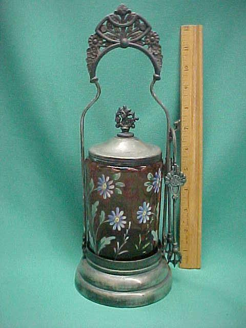 Victorian Thumbprint Cranberry Glass Enamel Pickle Castor Oriental Silver