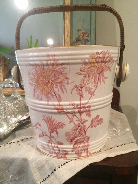 Brown-Westhand & Moore 1886 Red Porcelain Transfer Ware Waste Bucket