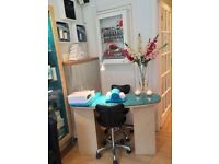 Beauty salon furniture, equipment, plinth, display cabinets, manicure desk, new towels, tan booth