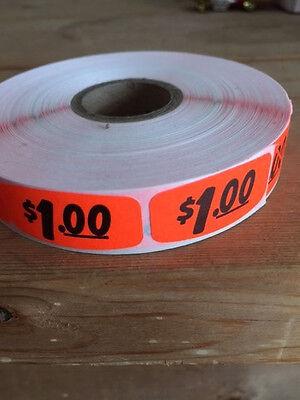 "1.25"" x .625"" $1.00 MERCHANDISE LABELS 1000 PER ROLL FL RED BLACK STICKER"