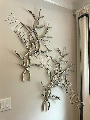 Set 2 Tree Branch Wall Sculpture Silver 37H ea Art Twig Pair Luxe Forged Metal