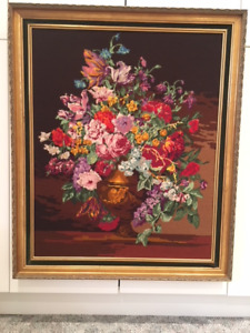 Needlepoint:  Flowers in a Vase