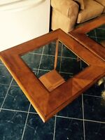 Wood/ Glass Coffee table and two end tables